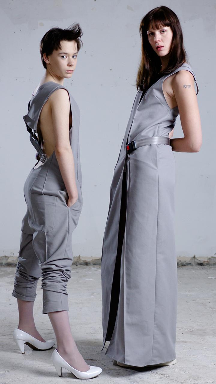 longdress, wrapdress, gown, unique jumpsuit, all-grey, avantgardefashion, madeinberlin